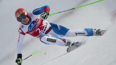 Switzerland's ski racer Patrick Kueng in action at the downhill at the FIS Ski World Cup at the Lauberhorn in Wengen, Switzerland, Saturday, January 19, 2013. (PHOTOPRESS/Marcel Bieri)