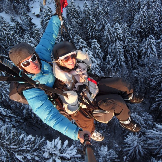 balmers paragliding forest snow
