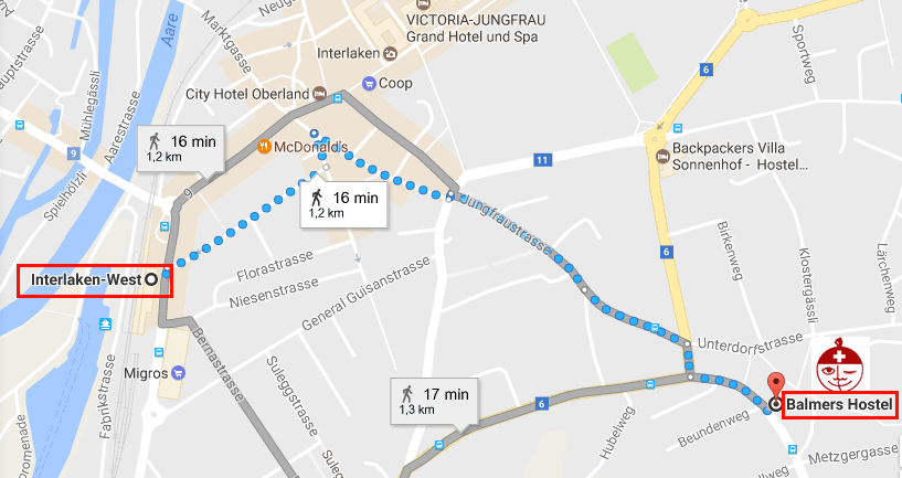 How to get to Balmers from Interlaken West Station